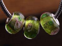 Perles Lampwork , perles de Murano et argent  15 x 9 et trou 4.5...Olive Green X 10