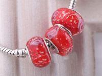 Perles Lampwork , perles de Murano et argent  15 x 9 et trou 4.5. X 10 Perles