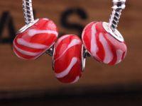 Perles Lampwork , perles de Murano et argent  15 x 9 et trou 4.5. X 10