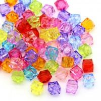 Mixte Perles  Verre Cristal Carré Acrylique 8mm  ......Taille du trou 1 mm  X 10
