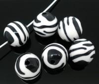 Perles Zébrées Acrylique Rondes  15mm.......Taille du trou 1.8 mm  X 10
