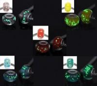 Mixte Perles Lampwork , perles de Murano Lumineuse  14 x 9 et trou 4.5 mm X 10
