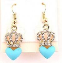 Couronne bleue coeur, boucle d'oreille plaqué or