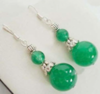 Boucles d'oreilles  vert jade
