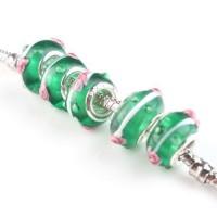 Perles Lampwork , perles de Murano et argent  13 x 8 et trou 4.5  X 10