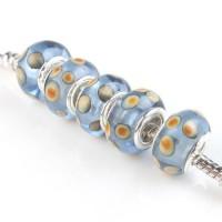 Perles Lampwork , perles de Murano et argent points khaki 13 x 8 et trou 4.5  X 10