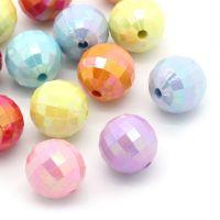 Mixte Perles Facettes Acrylique Rondes Couleur brillantes 12mm  X 10