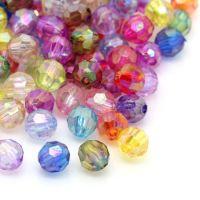 Mixte Perles  Acrylique Facettes  6mm.....Taille du trou 1 mm   X 20