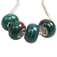 Perles Lampwork , perles de Murano et argent  13 x 8 et trou 4.5 mm X 10