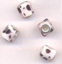 Perles Lampwork , perles de Murano et argent  14 x 12 et trou 4.5  X 10