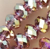 Perles de Cristal violet multicolore  4x6mm X 98