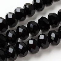 Perles Noires Cristal  4x6mm X 95