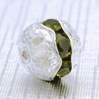 Boules rondes strass olivine 
