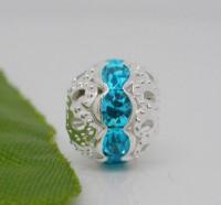 Perles Strass bleu clair  argentées  10 mm X 10