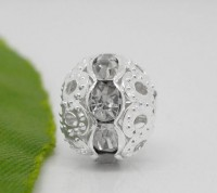 Perles Strass crystal clair argentées 10 mm X 10