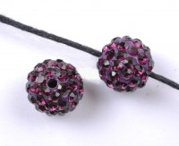 Boules rondes strass purple disco  10 mm X 10