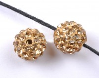 Boules rondes strass disco light col topaz  12 mm X 10