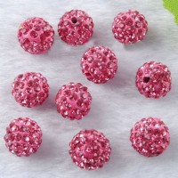Boules rondes strass light rose disco