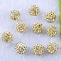 Boules rondes strass peridot disco  10 mm X 4