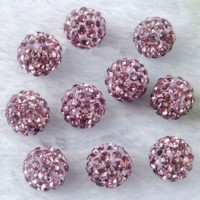Boules rondes strass disco rose 