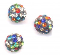 Boules rondes strass disco multi couleur 10 mm