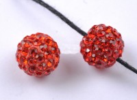 Boules rondes strass disco rouges 10 mm X 10