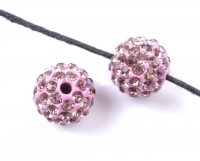 Boules rondes strass disco rose 12 mm X 10