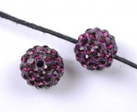Boules rondes strass disco  10 mm purple X 10