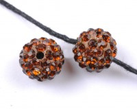 Boules rondes strass disco  10 mm marron X 10