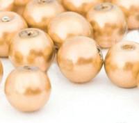 Perles Nacrées Rondes dore leger 8mm  X 25