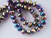 Perles cristal 3 x 4 mm Jet AB X 200