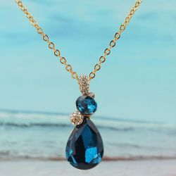 Collier plaqué or 18k chaîne pendante cristal Aquamarine