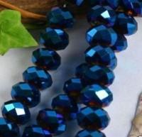 Perles cristal bleu dark sapphire AB 6x4mm 100pcs