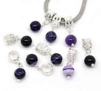 Mixte Pendentifs Perles en Agate Violet  25x8mm x 10