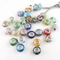 Perles Lampwork , perles de Murano et argent  15 x 9 et trou 4.5 MIXTE X 10 Perles