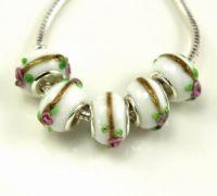 Perles Lampwork , perles de Murano et argent 925 silver 14 x 14 et trou 4.5  X 5