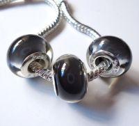 Perles Lampwork , perles de Murano et argent 925 silver 9 x 14 et trou 4.5  X 5