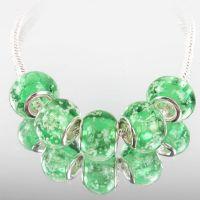Perles Lampwork , perles de Murano et argent 9 x 14 et trou 4.5  X 5