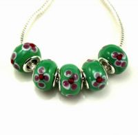 Perles Lampwork , perles de Murano et argent 925 silver 14 x 9 et trou 4.5 mm X 5
