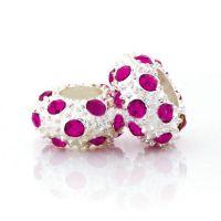 Perles Grand Trou Doré Argenté  12x12x6.5mm   trou = 5 mm Fuschia X 5