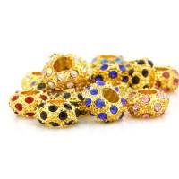 Perles Grand Trou Doré Argenté  12x12x6.5mm trou = 5 mm Mixte X 5