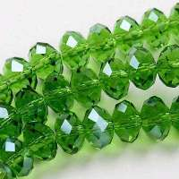 Perles 6 x 4mm, perles  Cristal olivine X 25
