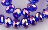 Perles 6 x 4mm, perles de Cristal sapphire AB X 25
