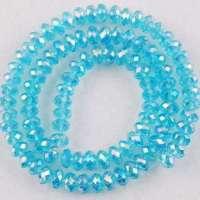 Perles 6 x 4mm, perles de Cristal Light sapphire AB X 25