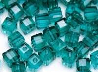 Cubes en crystal vert eau 4 mm X 25