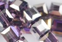 Cubes en crystal bluish violet AB 6 mm X 30