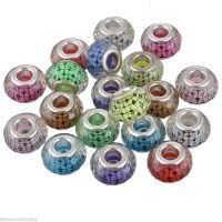 Perles Lampwork , perles de Murano mixte 14 x 9 et trou 4.5 mm  X 10