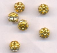 Boules rondes strass disco Crystal AB et or 8 mm X 12