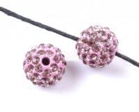 Boules rondes strass disco lilac 