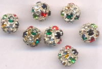 Boules rondes strass disco grey 10 mm X 8